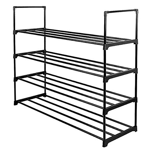 Lumsing Shoe Rack, 4-Tier Shoe Organizer Shelf Stackable Storage Cabinet Towers with Durable Metal Holds 20 Pairs, Black