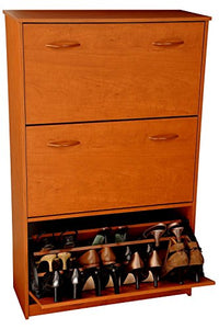 "Shoe Cabinet-Three Drop Down Drawers-Cherry Finish (Cherry) (48""H x 30""W x 11 1/2""D)"