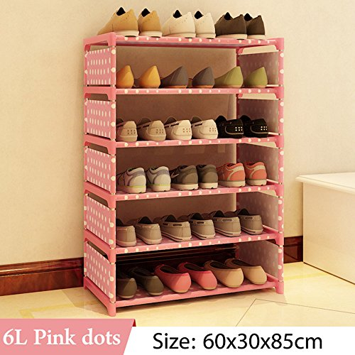 FKUO Multi Layer Shoe Rack Nonwovens Steel Pipe Easy to install home Shoe cabinet Shelf Storage Organizer Stand Holder Space Saving (pink dots-6L)