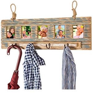 "Rustic Wall Mounted Coat Rack with 4 hanging hooks and. 31""x9"" Holds 5 photos. Use as coat rack, hat organizer, key holder. Perfect for Entryway, Mudroom, Kitchen, Bathroom, Hallway, Foyer"