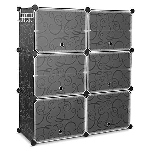 HOMFA 10 Cube Shoe Rack, DIY Cubes Storage Organizer, Multiuse Modular Closet Plastic Cabinet with Doors and Extra Hooks for Entryway Hallway Living Room