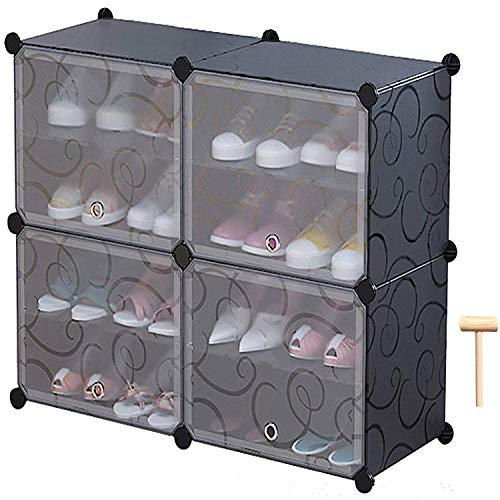 C&AHOME 4-Tier Shoe Rack, Space Saving 16-Pair Plastic Shoe Storage Organizer Units with Doors, Shoe Storage Cabinet, Ideal for Entryway Hallway Bathroom Living Room and Corridor, Black