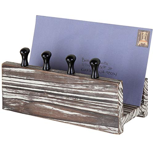 MyGift Rustic Torched Wood Wall-Mounted Mail Holder Organizer with 4 Key Hooks