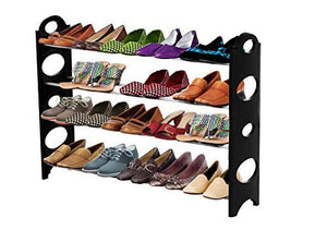 ForHauz Shoe Organizer 20 Pair Storage Rack for Closet or Entryway, Black