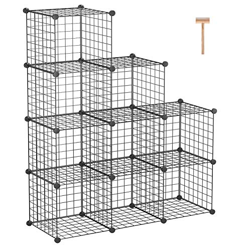 "C&AHOME Metal Wire Cube Storage, 9-Cube Bookcase, Stackable Storage Bins, Modular Book Shelf or Shoe Rack, DIY for Closet, Living Room, Kid's Room, Home Office, 36.6""L x 12.4""W x 48.4""H, Black"