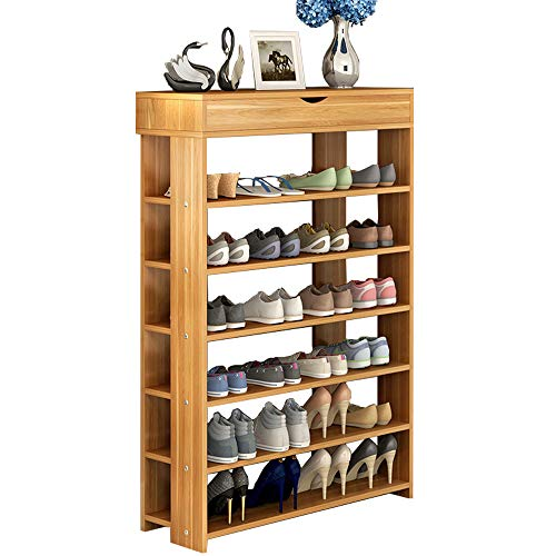 FKUO Shoe Rack Multi-Functional Storage Rack Small Shoe Cabinet Easy Assembled Shelf Storage Organizer Stand Holder Wooden (Red Maple Wood, 7524110.5cm)