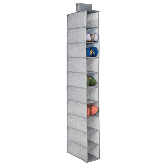 mDesign Fabric Hanging Closet Storage Organizer, for Shoes, Handbags, Clutches - 10 Shelves, Gray