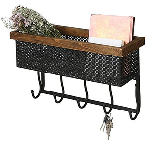 MyGift 19-inch Black Metal Wall-Mounted Entryway Storage Basket with Wood Trim & 5 Key Hooks