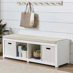 Better Homes and Gardens Storage Organizer Bench (4-Cube, White)