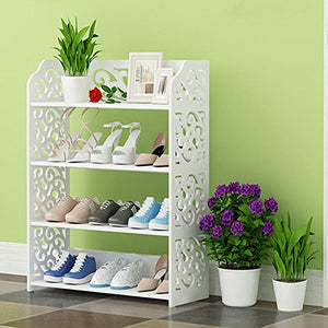 "GOTOTOP 4-Tier Shoe Rack, Portable Shoe Tower Chic Hollow Out Storage Rack Shoe Storage Organizer Stackable Shelves for 20 Pairs of Shoes Suit,15.74""W x 9.05""D x 27.95""H"