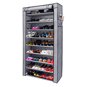 NEX 10-Tier Shoe Rack Portable Shoe Organizer Dustproof 45-Pairs Shoe Cabinet with Watreproof Non-Woven Cover (Large, Silver Grey)