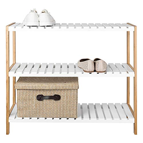 TopHomer 3 Tiers 12 Pairs Capacity Bamboo Shoe Rack Bench Shelf Storage Organizer Adjustable Sturdy Shoe Rack Shoe Holder Stand Rack Rise Shoes Unit Organizer for Hallway Entryway Living Room