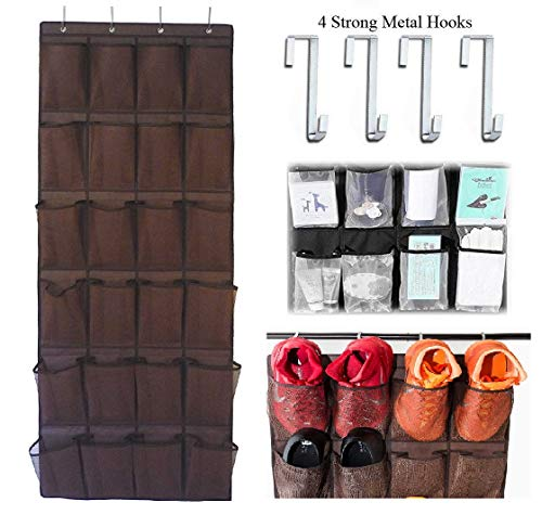 Newraturner Over The Door Hanging Shoe Organizer, 24 Large Mesh Pockets Shoes Storage and Closet Organizer (Brown)
