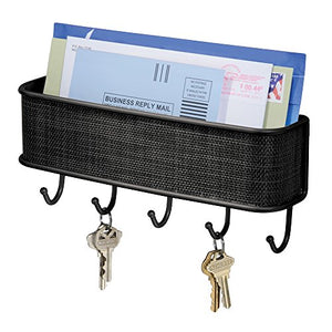 "InterDesign Twillo Mail and Key Holder, Decorative Wall Mounted Key Rack Organizer Pocket and Letter Sorter for Entryway, Kitchen, Mudroom, Home Office Organization, 10.5"" x 2.5"" x 4.5"", Matte Black"