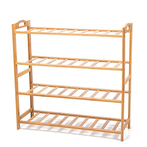 THY COLLECTIBLES 4 Tier Multifunctional Bamboo Shoe Rack Shoe Boot Tower Shelf Storage Organizer Stand Cabinet Bench