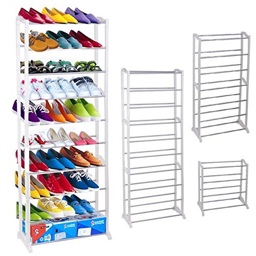 10 Tier Shoe Rack 30 Pair, Tier Free Standing, Space Saving Storage Organizer(White)