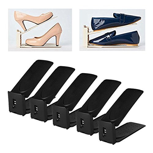 HARRA HOME Premium 3 Level Adjustable Shoe Slots Organizer Space Saver, Double Shoe Rack Storage Holder For Closet, Easy Shoe Stacker For Sneaker High Low Heels Boots Flats Sandals, Black, Pack of 5
