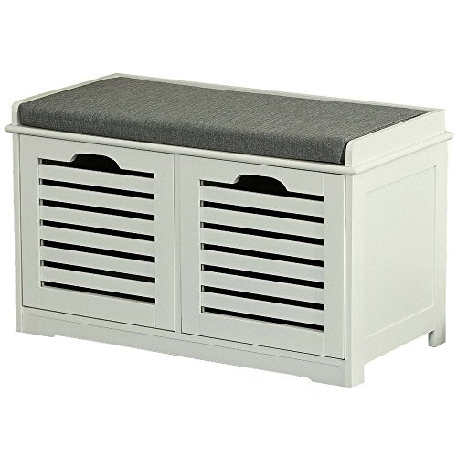 Shoe Rack Bench Seat for Entryway White with Storage Enclosed Organizer Seat 2 Drawers Hallway Bench Modern Contemporary Cabinet Furniture Ottoman Sitting Entry Foyer Backless and eBook by NAKSHOP