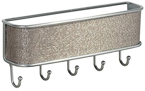 iDesign Twillo Metal Wall Mount Key and Mail Rack, 5-Hook Organizer for Kitchen, Mudroom, Hallway, Entryway, 10.5