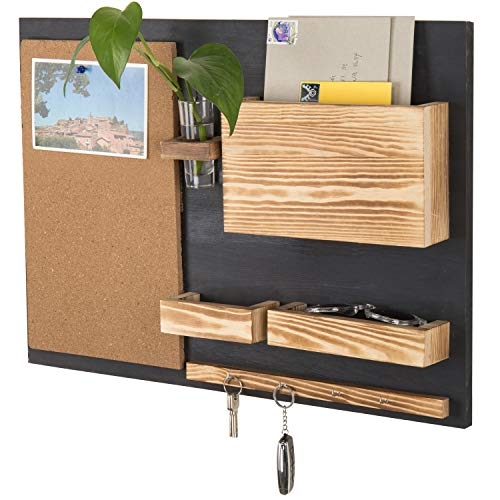 MyGift Wall-Mounted Organizer with Cork Bulletin Board, Mail Holder, Key Hooks, Flower Vase