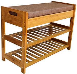"Royal Brands Bamboo Shoe Rack and Storage Bench - 2 Tier Organizing Rack - Bench Seat - Perfect for Closets, Hallway or Bedroom (27"" x 11.5"" x 19"")"