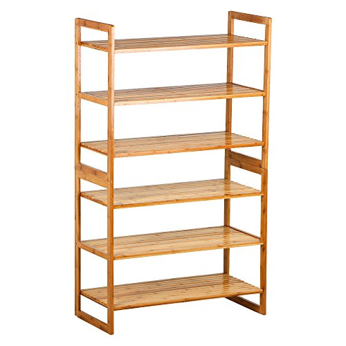 WALLER PAA 6 Tier Bamboo Shoe Rack Entryway Shoe Shelf Holder Storage Organizer Furniture