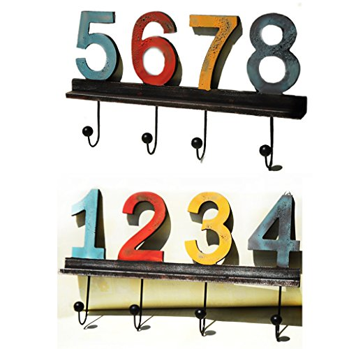 Digital Hook Hanger with 4 Hooks Decorative MDF Wall Hook Rack for Coats Hats Keys Towels Clothes (Size:23X40cm),12345678