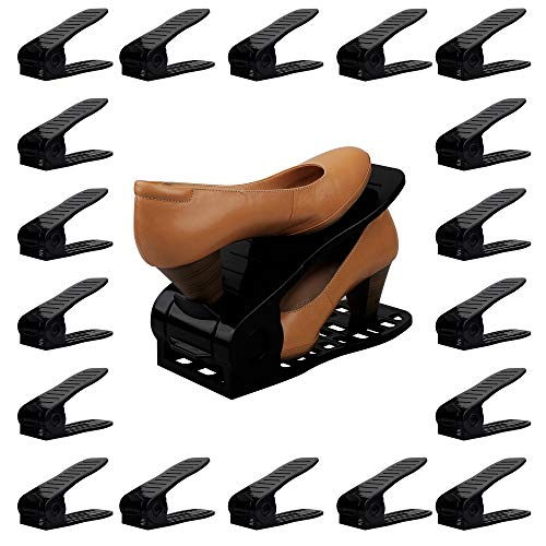 Organize Joy Shoe Slots, 18 Piece Set Plastic Shoe Holders, Closet Space Saver (Black)