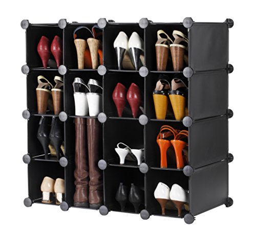 VonHaus 16x Black Interlocking Shoe Cubby Organizer Storage Cube Shoes Rack - Build Into Any Shape or Size to Organize Shoes, Clothing, Toys and DVDs