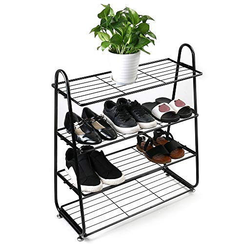 Nibito Shoe Rack 24.8Lx27.96Wx9.84H Inch 4-Tire Shoe Tower Organizer Storage Shelf Cabinet Holds 20 Pair Easy to Assemble Stackable Storage Organizer Wire Shelves Hall Entryway Black (Black)