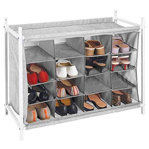 mDesign Soft Fabric Shoe Rack Holder & Organizer - 16 Cube Storage Shelf for Closet, Entryway, Mudroom, Garage, Kids Playroom - Metal Frame, Easy Assembly - Closet Organization - Gray/White