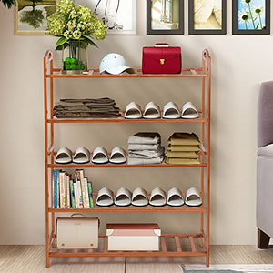 Good concept 5 Tier Natural Shoe Bamboo Rack Wooden Holder Shelf Storage Entryway Organizer