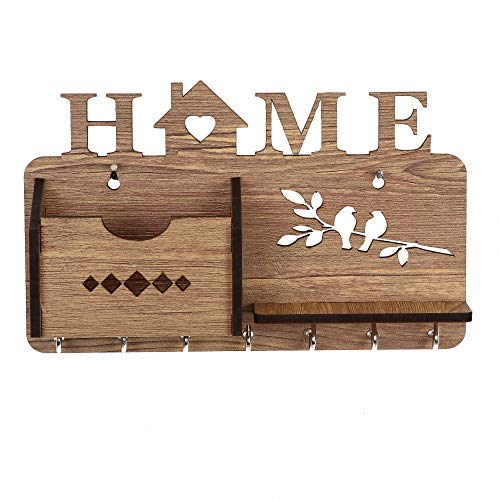 Sehaz Artworks Home-Side-Shelf-Brown-KeyHolder Wooden Key Holder (7 Hooks) (Light Brown)
