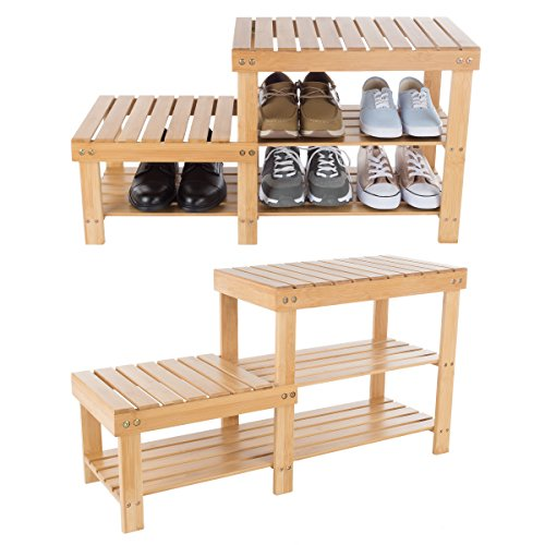 Lavish Home 83-58 Bamboo Shoe Rack Bench with 2 Tiers of Shelves and 2 Heights-Seat Storage, Wood