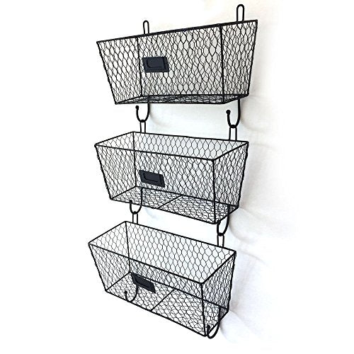 Lapha' Black Basket Wall Mount 3Tier Key Letter Rack Key Holder Mail Storage Organizer File for Home Office