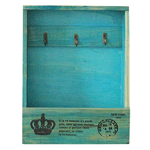 Olpchee Retro Wooden Wall Mounted & Tabletop Key Holder Rack Organizer Letter Mail Holder with 3 Key Hooks for Entryway Kitchen Office (Blue)