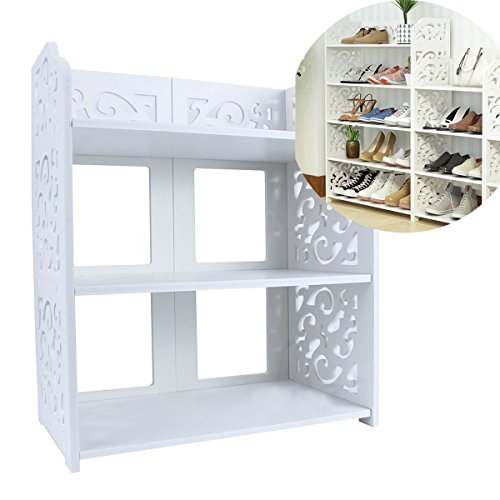 Estink 3-Tier Shoe Rack,Freestanding White Chic Hollow Out Shoe Tower Organizer Cabinet Shoe Closet Baroque Storage Organizer Stand Shelf Holder Unit Shelves,15.74