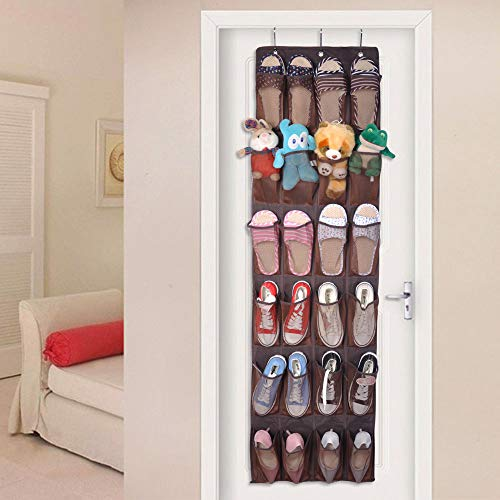 Renashed Over The Door Shoe Organizer, 24 Pocket Shoe Storage Hang on Standard Doors with 3 Hooks
