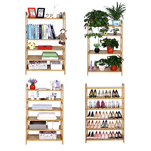 "Dporticus 6 Tier Bamboo Shoe Rack Free Standing Shoe Holder Shoe Shelf Storage Organizer for Entryway Bathroom Kitchen 26.6"" x 10.2"" x 42.5"" (L x W x H)"