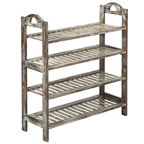 MyGift 4 Tier Country Rustic Torched Wood Slatted Storage Shoe Rack, Entryway Utility Shelf