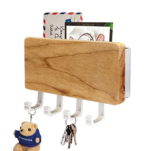 Segarty Key Holder, Decorative Wooden Key Chain Rack Hanger Wall Mounted with 4 Hooks, Multiple Mail and Key Holder Organizer for Door, Entryway, Hallway, Kitchen