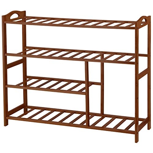 Ollieroo Bamboo 4-Tier Shoe Rack 10-13 Pairs Entryway Shoe Shelf Storage Organizer (Brown)
