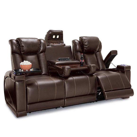 Latest seatcraft sigma home theater seating sofa leather gel recline with adjustable powered headrests center fold down table hidden in arm storage ac usb charging and lighted cup holders brown