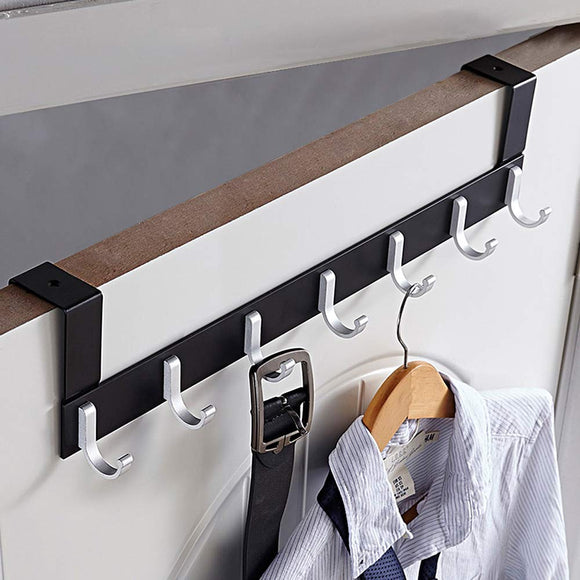 KAIYING Over The Door Hook Hanger,Heavy Duty Organizer Rack for Coat, Towel, Bag, Robe - 6/7 Hooks, Aluminum, Polished Finish (7 Hooks)