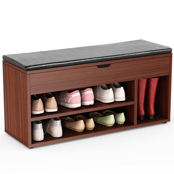 Tribesigns Shoe Storage Bench Upholstered Shoe Rack Organizer Hall Bench with Storage for Entryway, Hallway (Teak)