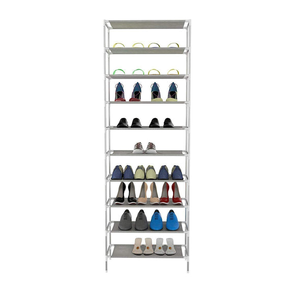 Miuniu 10 Tiers 30 Pairs Freestanding Shoe Rack Shelf Easy Assembled Shoe Tower Storage Organizer Stackable Shoe Stand Non-Woven Space Saving Shoe Cabinet Closet