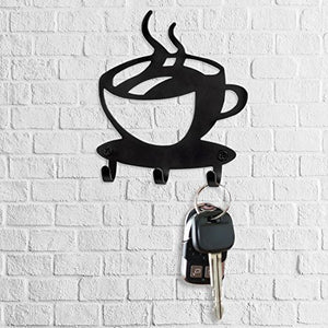 Key Holder Rack Wall Mounted - Modern Coffee Time Decor Key Organizer with 3 Hooks, Premium Quality Laser Cut Steel, Black Finish, Ready to Install with Included Screws & Anchors By Spectrum