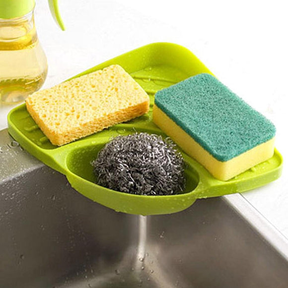 LtrottedJ Sponges Kitchen Sink Corner Shelf ,Wall Cuisine Dish Rack Drain (Green)