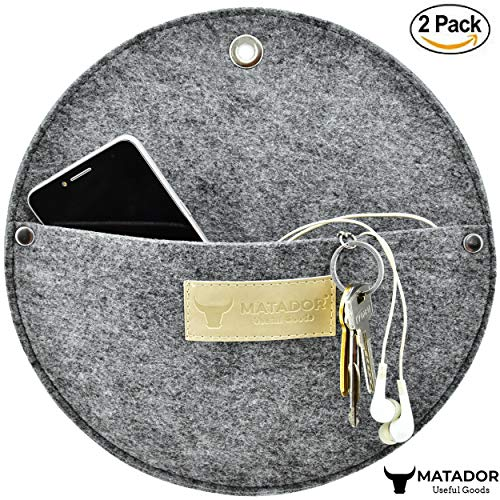 Matador Useful Goods | Wall Mount Key Holder for Entryway, Kitchen, Office | Mail Sorter, Letter Organizer, 10x10 inches (Pack of 2, Grey Felt)