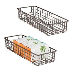 "mDesign Household Wire Drawer Organizer Tray, Storage Organizer Bin Basket, Built-In Handles - for Kitchen Cabinets, Drawers, Pantry, Closet, Bedroom, Bathroom - 16"" x 6"" x 3"" - 2 Pack - Bronze"